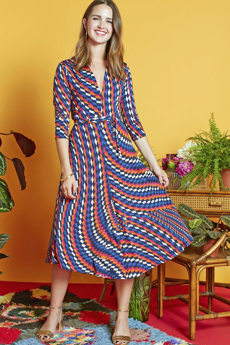 Onjenu Amy Ciel midi geometric print jersey dress