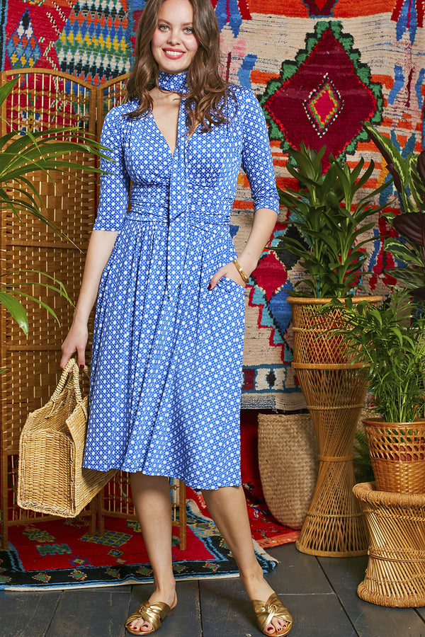 Onjenu Crawford Blue Star Print Dress