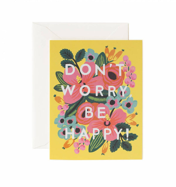 Rifle Paper Co Don't Worry be Happy Greetings Card