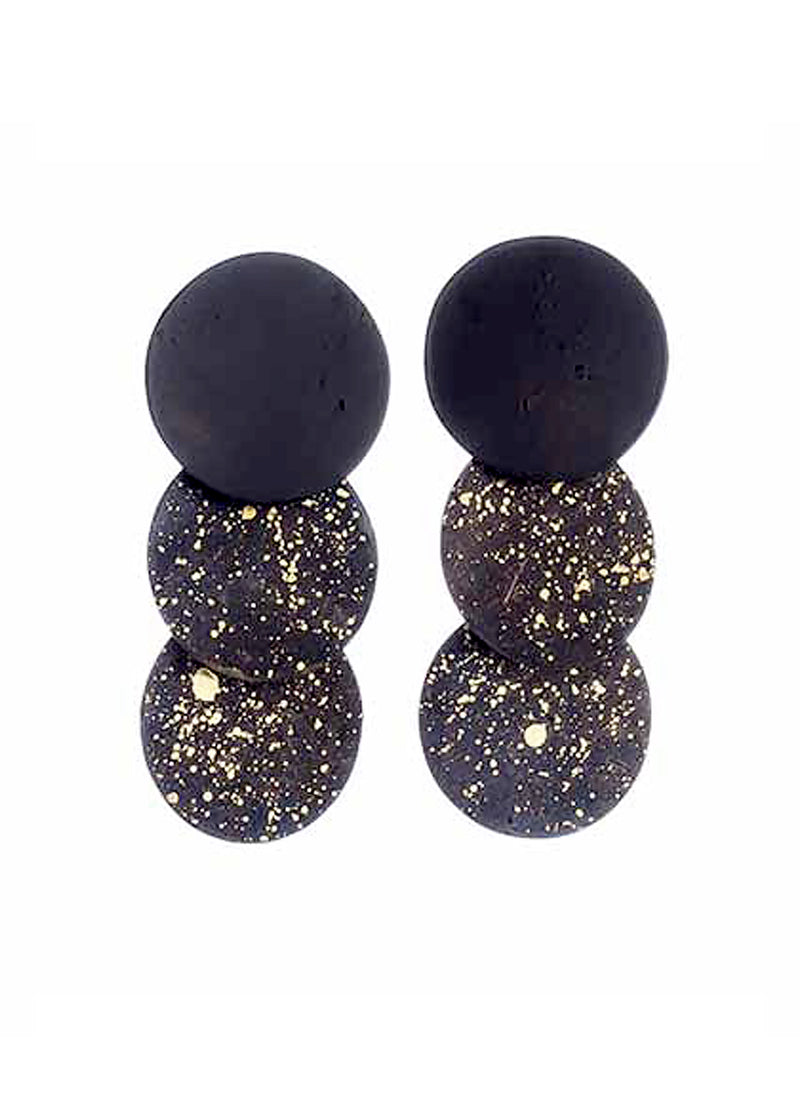 Sibilia Black Three Circle Earring