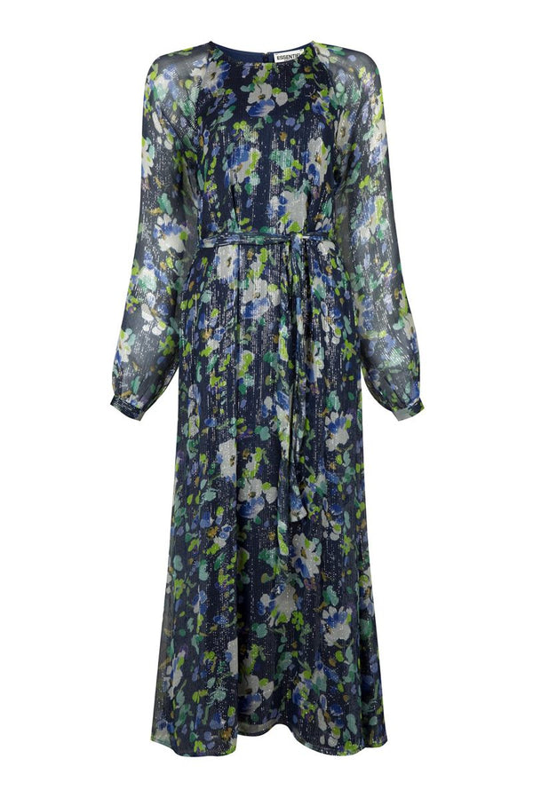 Essentiel Antwerp verfect floral print long dress vapour blue