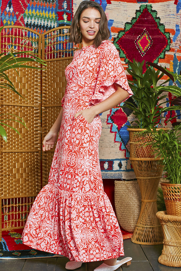 Onjenu Gabriella Red & White Floral Print Maxi Dress