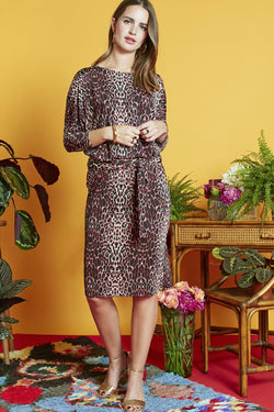 Onjenu Georgia leopard animal print jersey dress