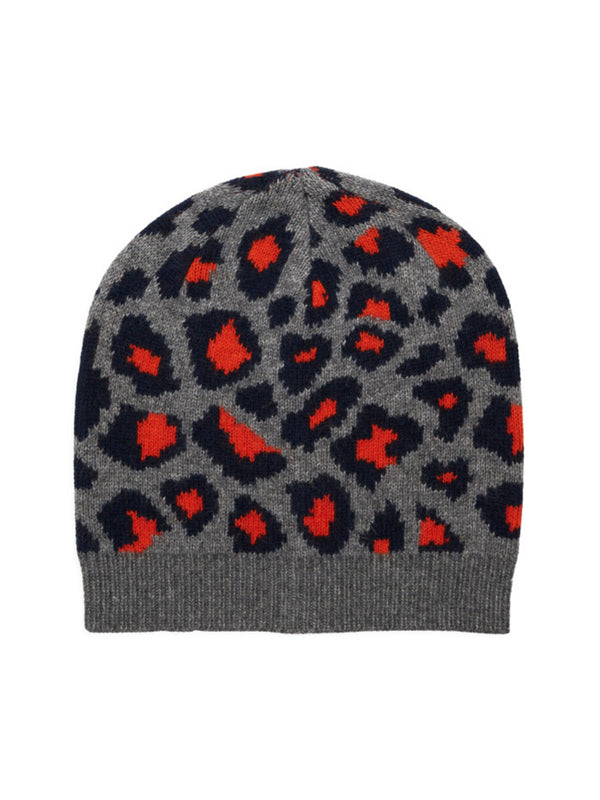 Leopard pattern knitted cashmere beanie by Somerville