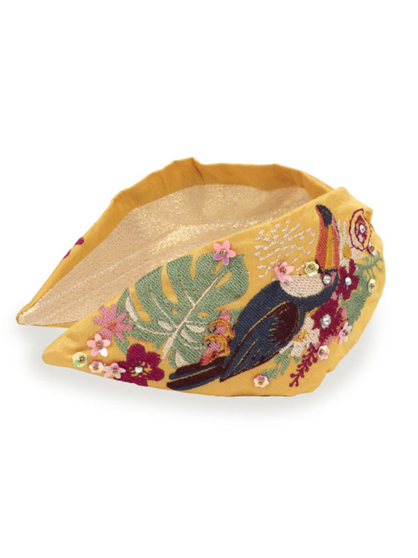 Powder embroidered toucan mustard yellow embroidered headband