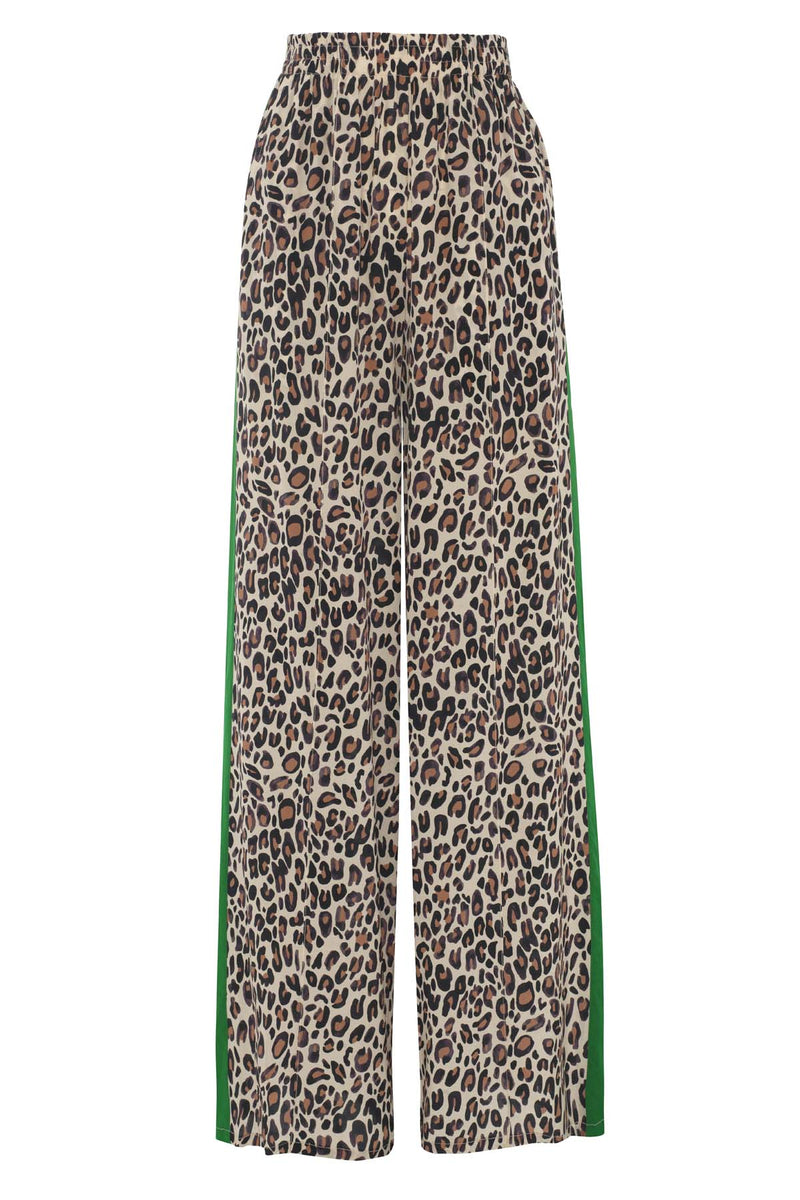 Primrose Park leo print wide leg silk blend trouser with green contrast stripes