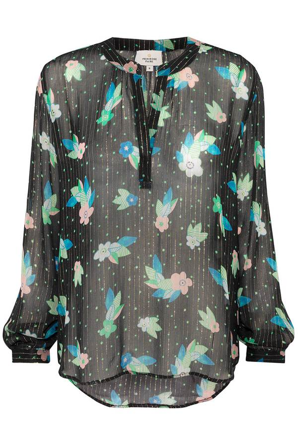 Primrose Park floral lurex sparkle stripe blouse with open neck