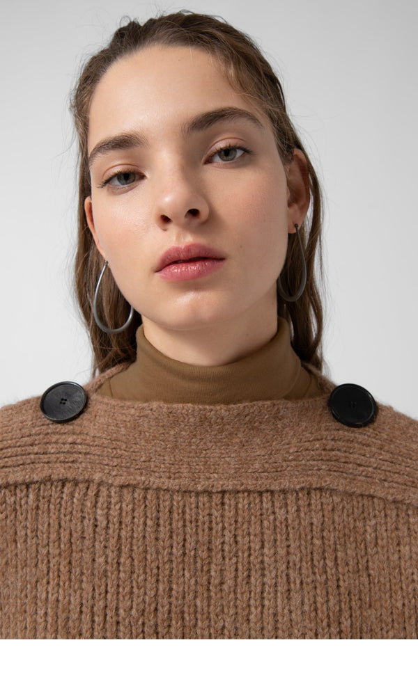 Loreak Eiti heavy knit sweater with button shoulders in dark camel.