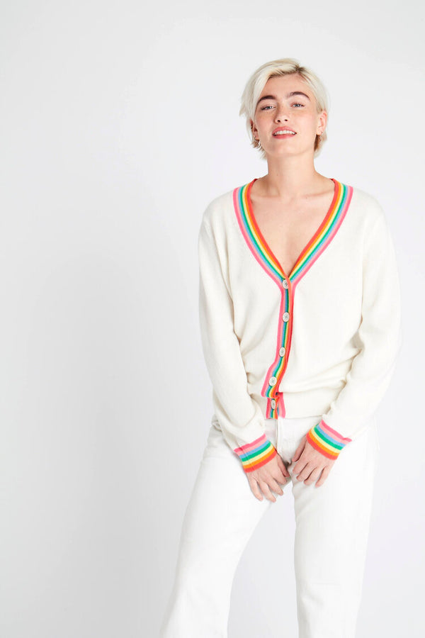 Jumper 1234 Cashmere Rainbow Cardigan in Cream