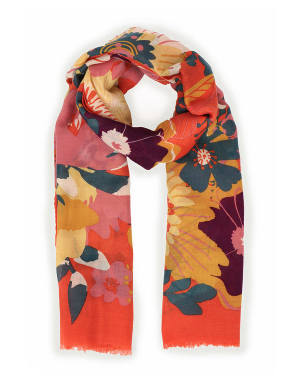 Powder Modern floral scarf in pretty floral print featuring bright coral orange, daffodil yellow, teal and blush pink tones