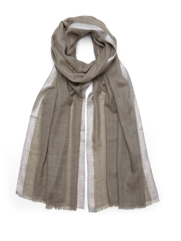 Luxurious fine cashmere pashmina scarf with woven silver metallic border on a sophisticated taupe colour way.