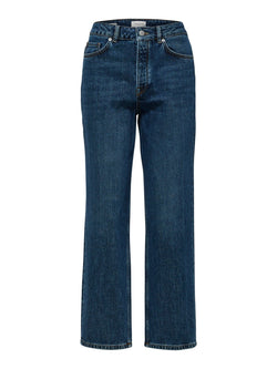 SLFKate high waisted straight leg jeans in indigo blue