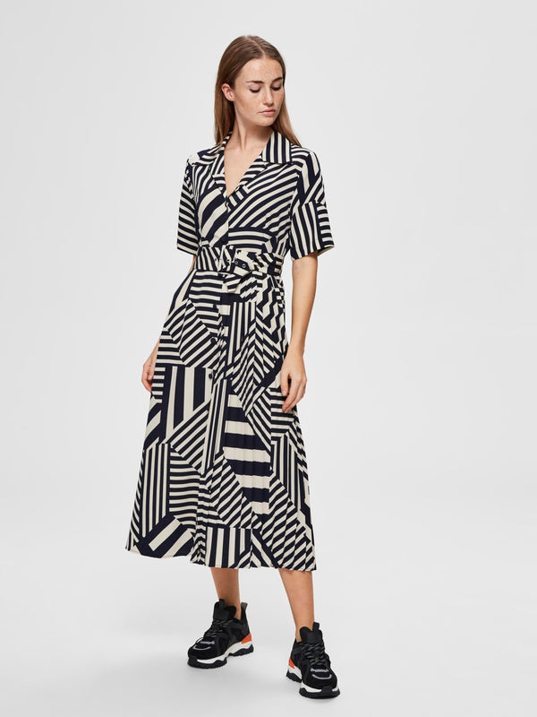 SLFAleena Oriana striped retro style midi belted shirt dress with short sleeves and asymmetric pleat detail by Selected Femme