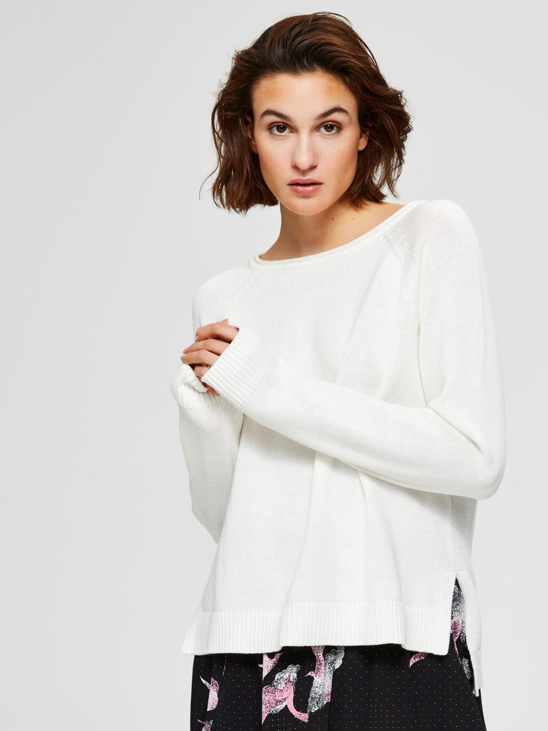 SLFAlbi Cotton Boat Neck Sweater by Selected Femme