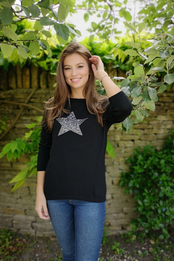 Luella Sequin Star Cashmere Sweater