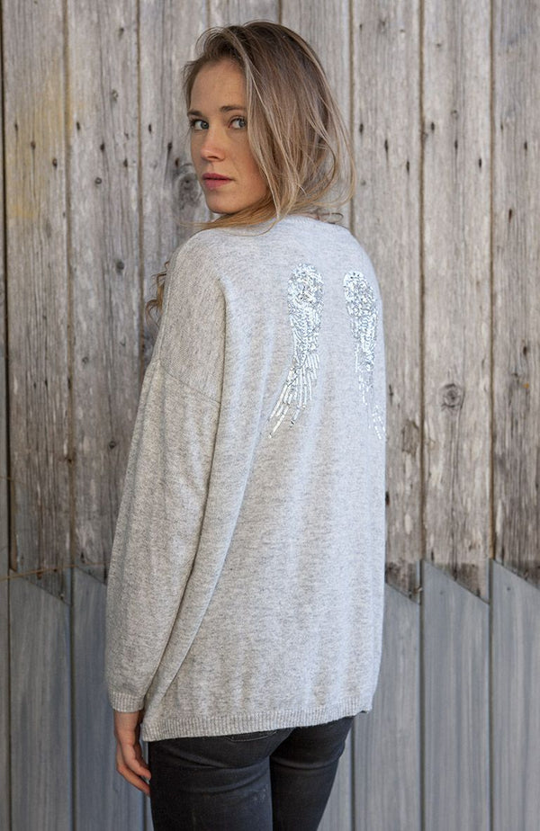 Luella Sequin Cashmere Angel Wings Sweater