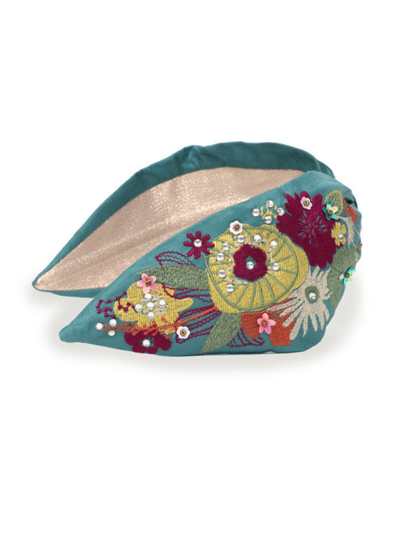 Powder Modern floral embroidered headband