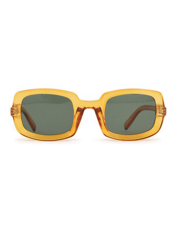 Powder Sadie sunglasses with large semi transparent orange rectangular plastic frames