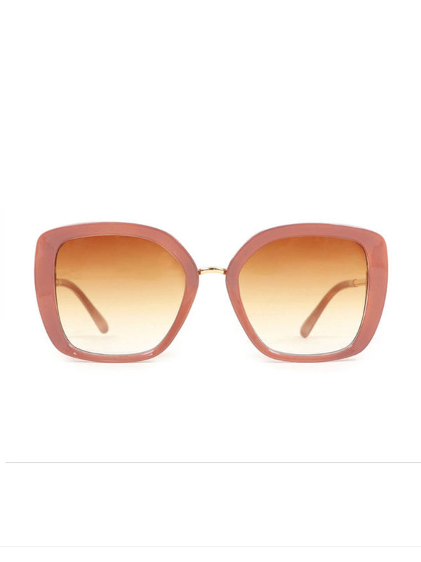 Powder Serenity sunglasses with large pale pastel pink angular plastic frames.