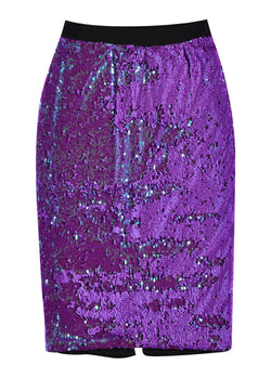 Essentiel Antwerp sequin midi pencil skirt with elastic waist. Lined with a tapered fit, in a striking iridescent purple sequin finish