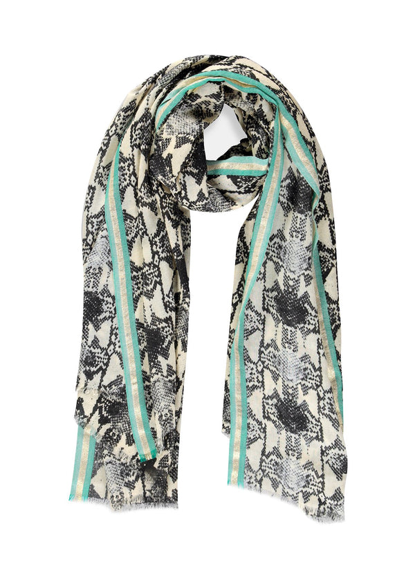 Essentiel Antwerp snake print wool Tumbo scarf with contrast aqua and gold sparkle stripe border