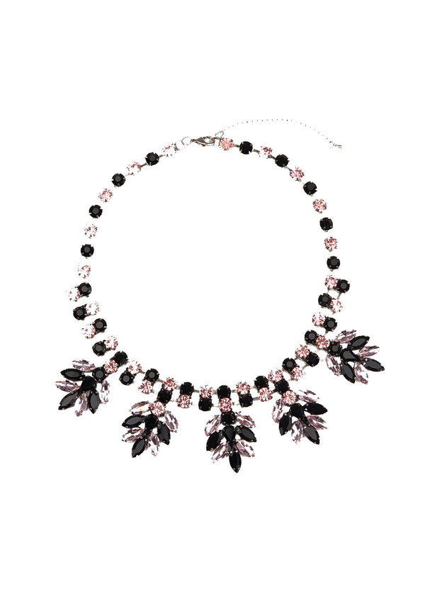 Essentiel Antwerp black and pink bejewelled diamante necklace