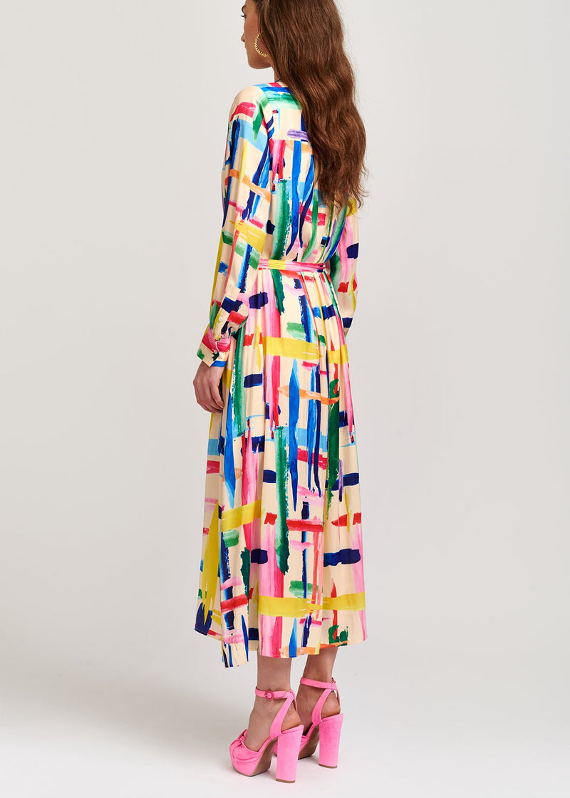 Valila graphic print button down midi shirtdress with high neck by Essentiel Antwerp