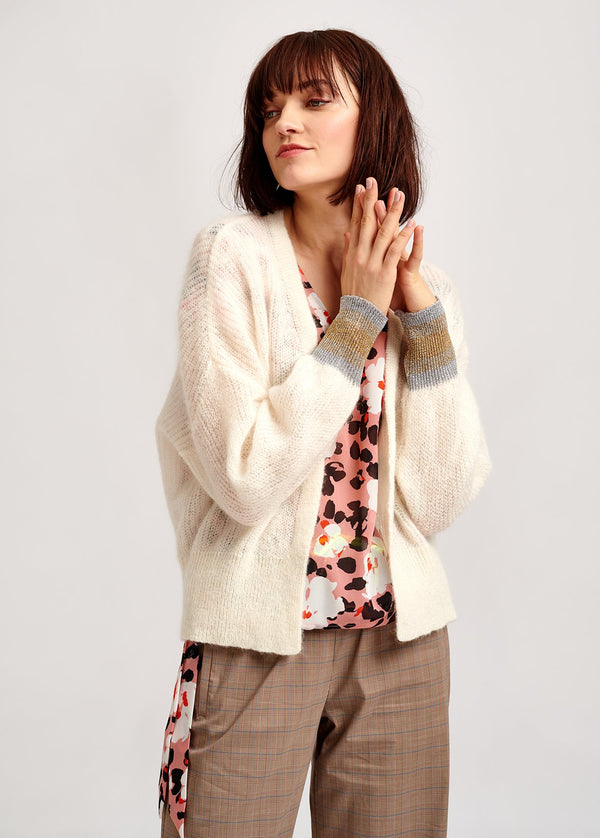Valleroy lurex sparkle cuff mohair blend cardigan by Essentiel Antwerp