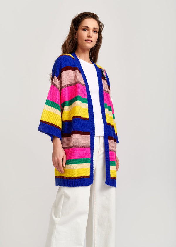 Vallista knit striped cardigan coat by Essentiel Antwerp
