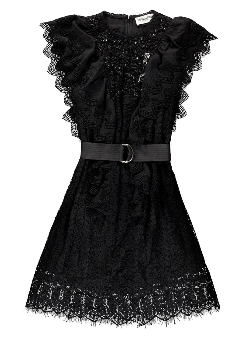 Essentiel Antwerp Vamos black lace mini dress
