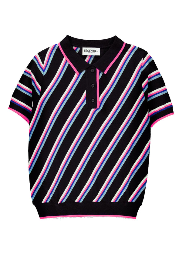 Essentiel Antwerp Vanuatu knitted polo neck top in black featuring pink, white and blue diagonal stripes