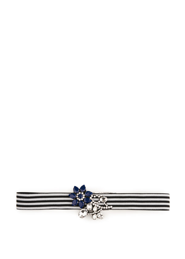 Vavalon blue stripe belt with floral diamante detail.