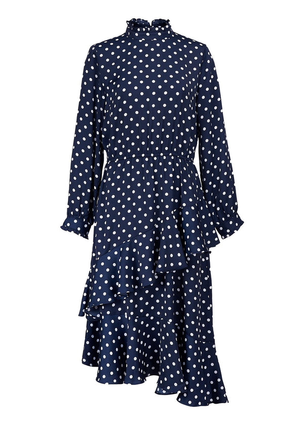 Vazongas polka dot high neck asymmetric ruffle dress with tiered by Essentiel Antwerp