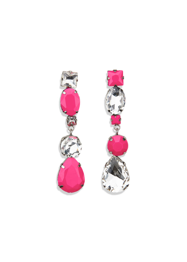 Essentiel Antwerp pink and silver diamante stone pendant drop earrings.