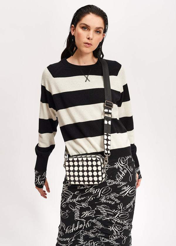 Essentiel Antwerp Viken black and white striped cashmere knitted sweater