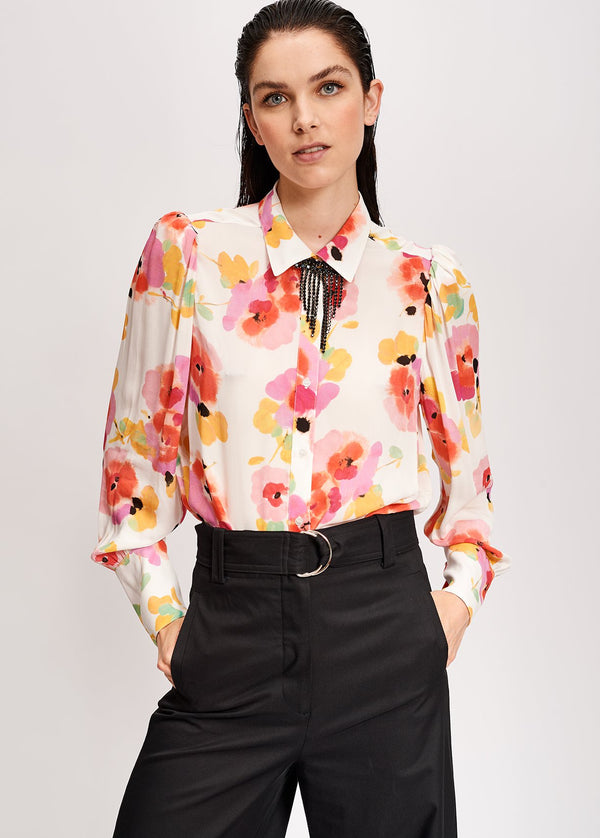 Essentiel Antwerp Vileda floral print puff shoulder shirt