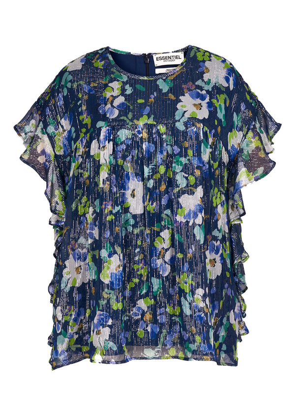 Essentiel Antwerp Vleun frilled tunic top in floral print with metallic thread detail