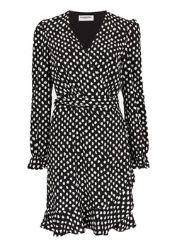 Essentiel Antwerp Vodolfo polka dot printed wrap mini dress