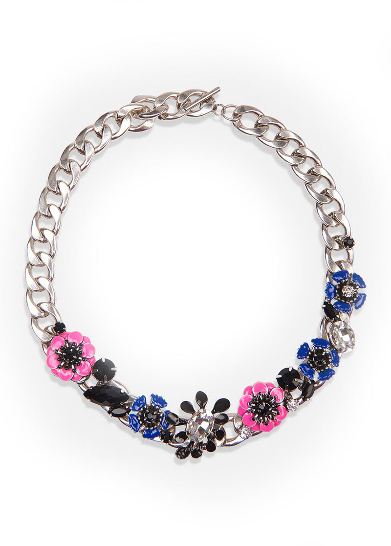 Essentiel Antwerp Vreally black flower diamante jewel necklace