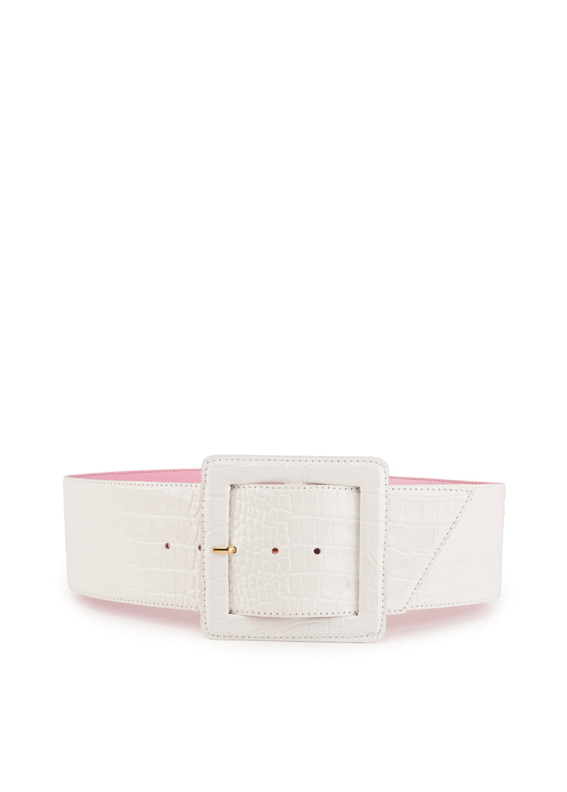 Vriniti wide faux crocodile effect leather belt with large square buckle.