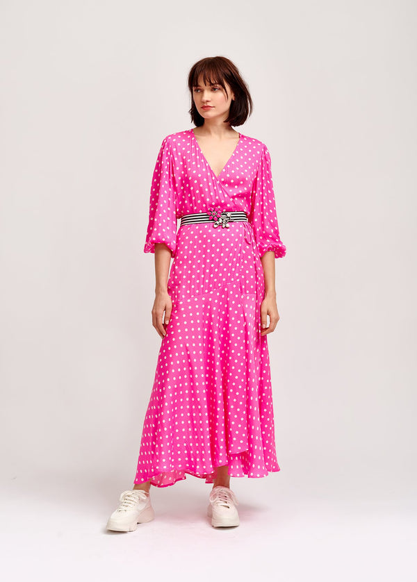 Vundamental polka dot midi wrap dress with cropped blouson sleeves by Essentiel Antwerp