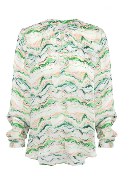 Primrose Park Sandy Wave shirt pale green, pink and blue hues against a cream background