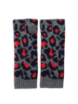 Cashmere leopard pattern wrist warmers by Somerville