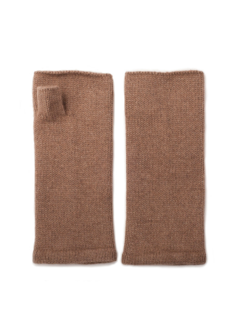 Camel cashmere wrist warmers by Somerville