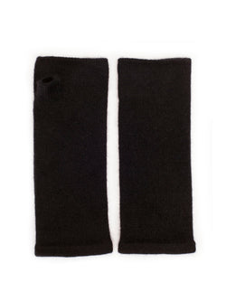 Black cashmere wrist warmers by Somerville