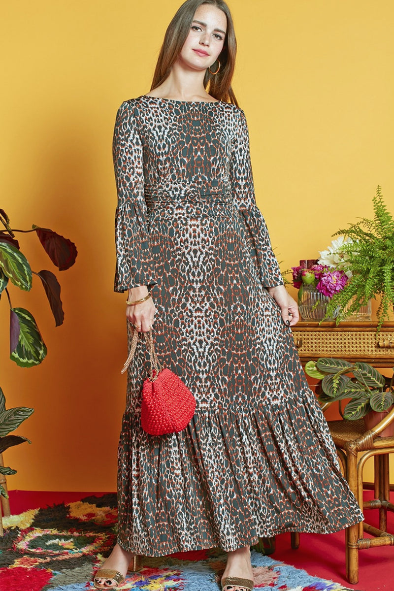 Onjenu Yana Leo leopard animal print jersey maxi dress