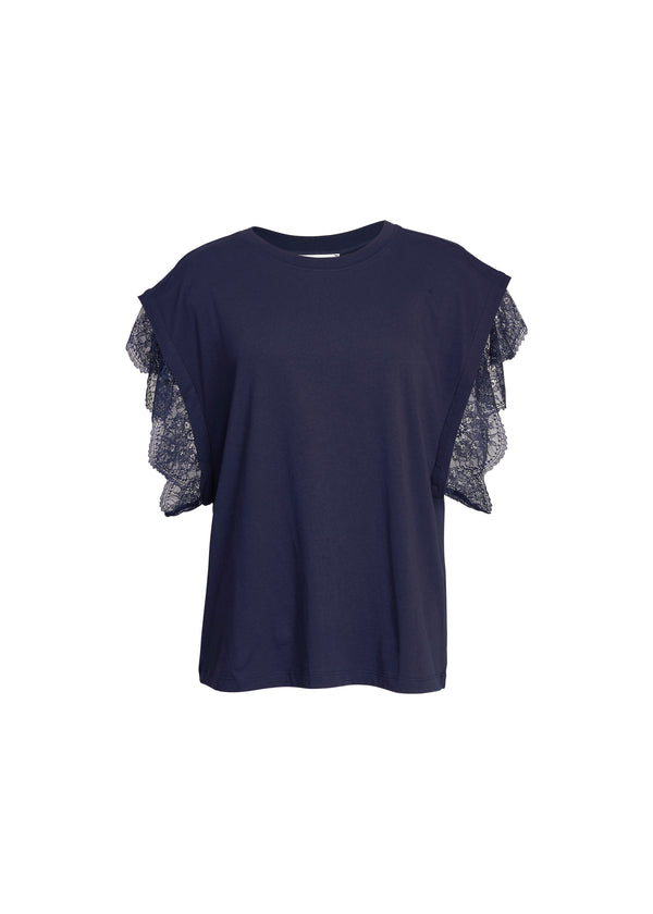 Essentiel Antwerp Zollywood Lace Trim Tee in Navy