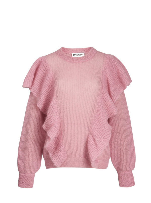Essentiel Antwerp Zom Zom Frilled Sweater in Pink