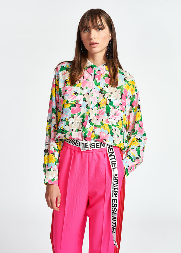 Essentiel Antwerp Zunco Floral Print Shirt in Pink