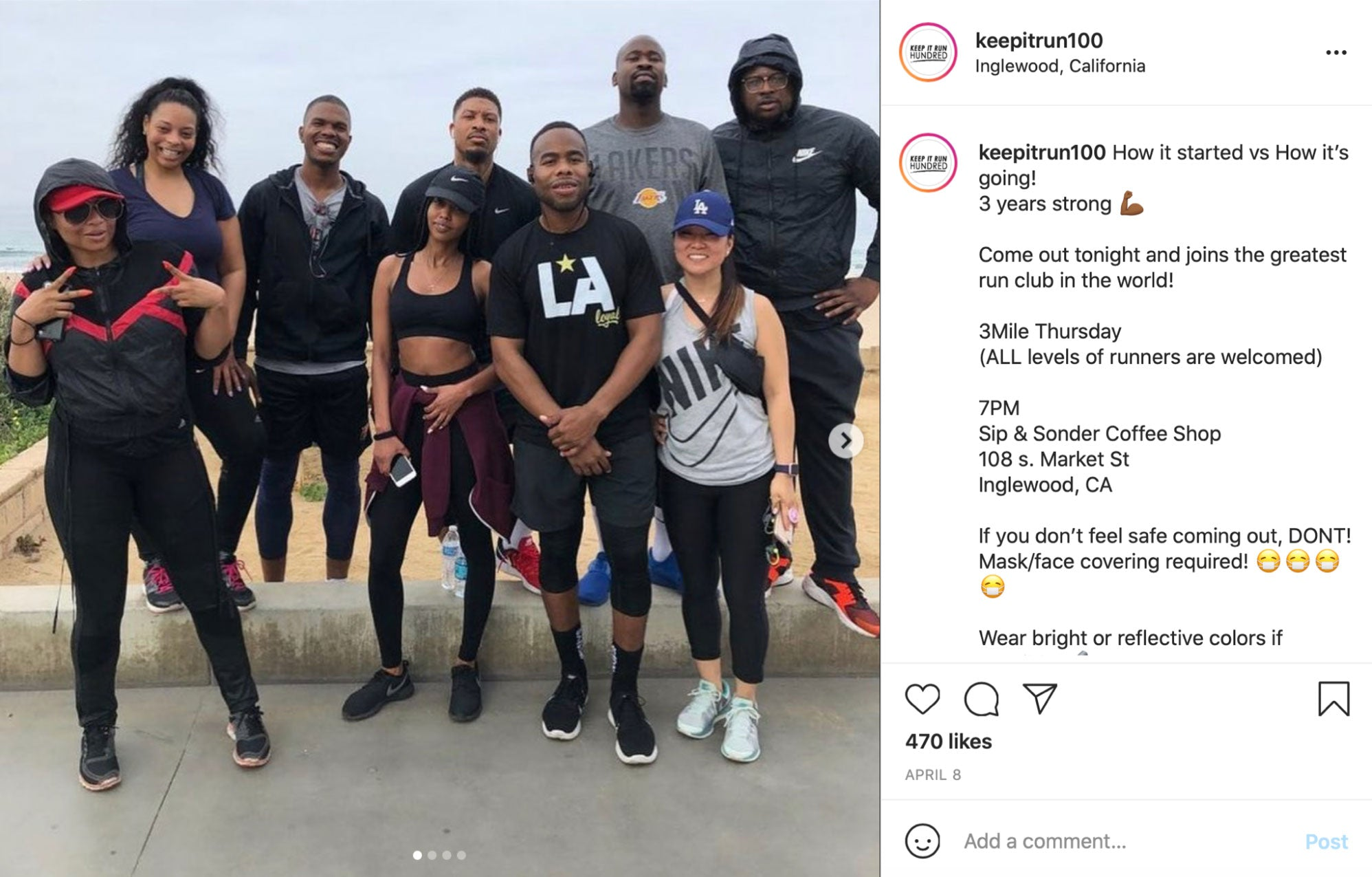 Instagram photo of a group of people in workout gear and Instagram comments
